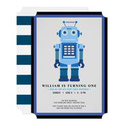 Robot party birthday invitations