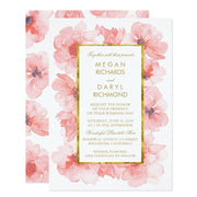 Gold Vintage Blush Floral Wedding Invitation