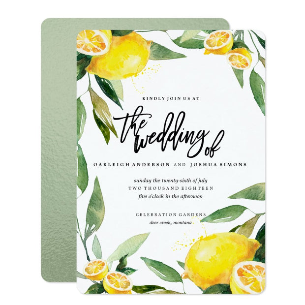 Bohemian Lemon and Leaves Wedding Invitation