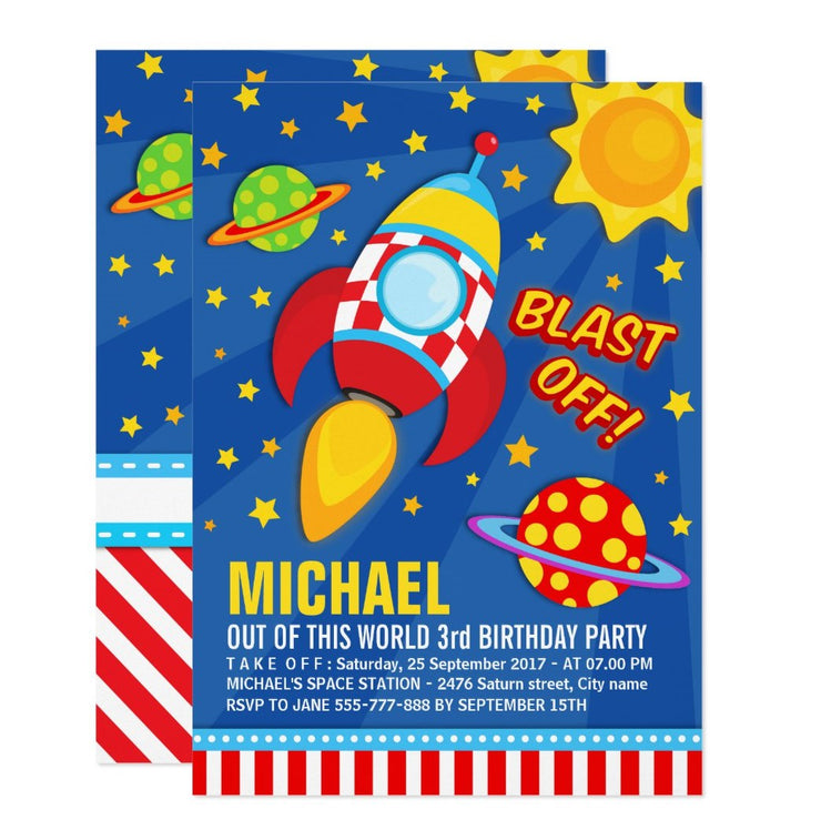 Blast Off Space Rocket Ship birthday party invitations