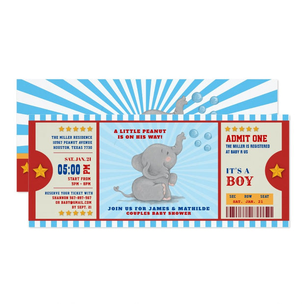 Little peanut elephant Ticket Couples baby shower ticket invitation