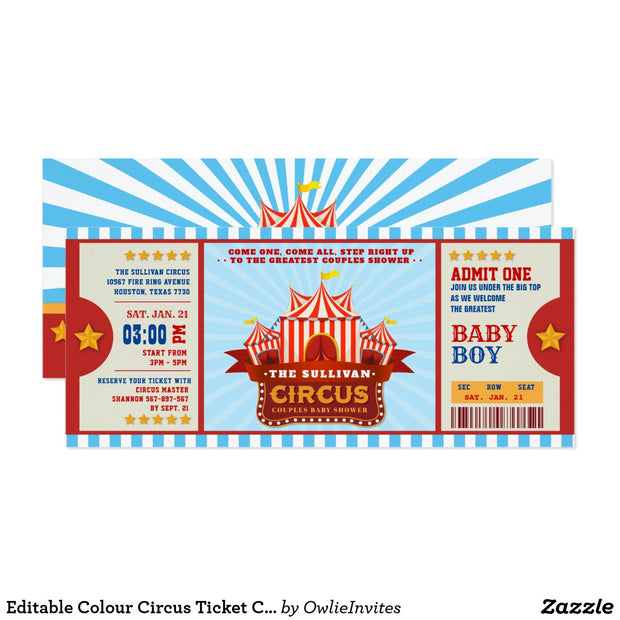 Editable Colour Circus Ticket baby shower ticket invitation
