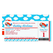 Airplane ticket birthday invitations