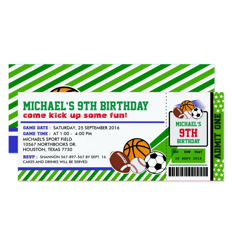 Sport All Star ticket birthday invitations
