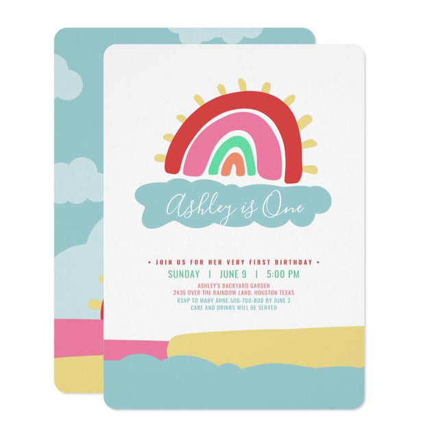 Pastel Rainbow first birthday invitations