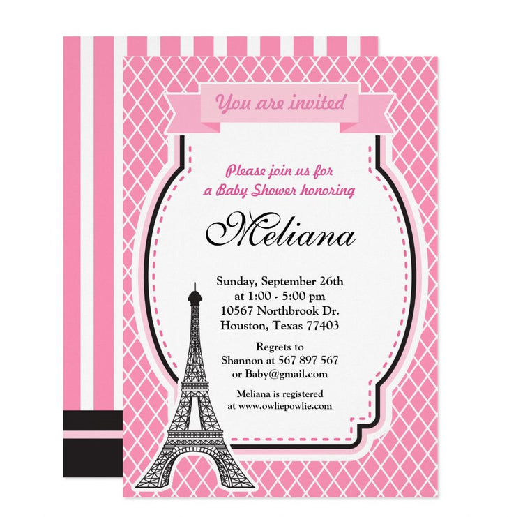 Paris Glamour Girl baby shower invitation