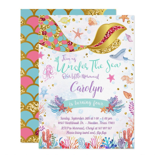 Gold Glitter | Mermaid Under The Sea birthday invitations