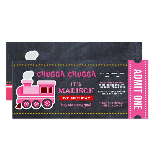 Train Chalkboard Boarding birthday party invitations