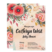 Chic Modern Flower Bouquet baby shower invitation