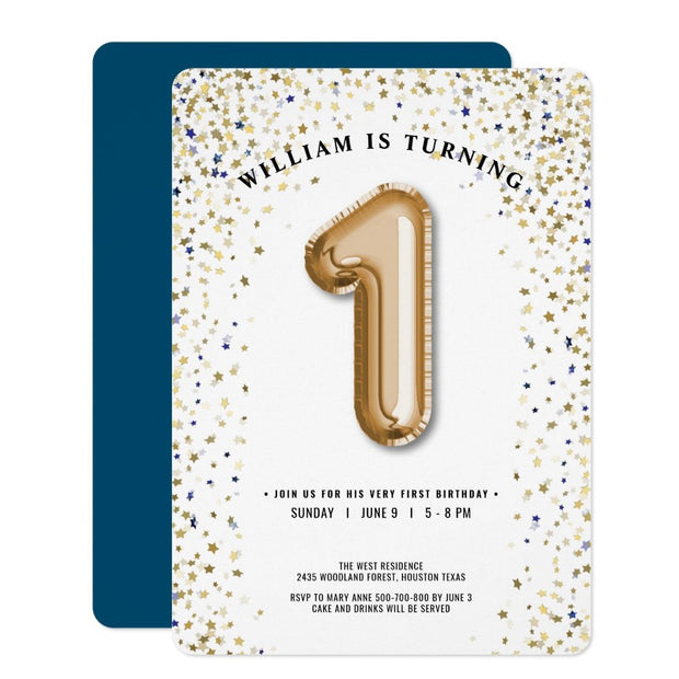 Twinkle Twinkle Little Star Balloon birthday invitations