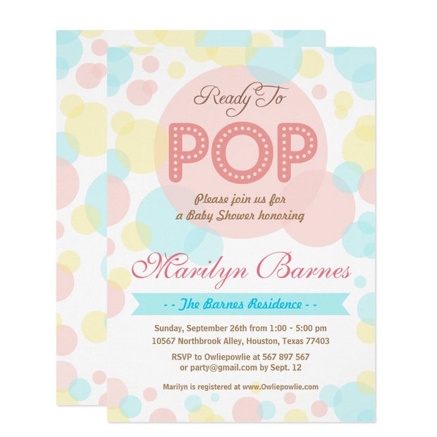 Ready To Pop baby shower invitation