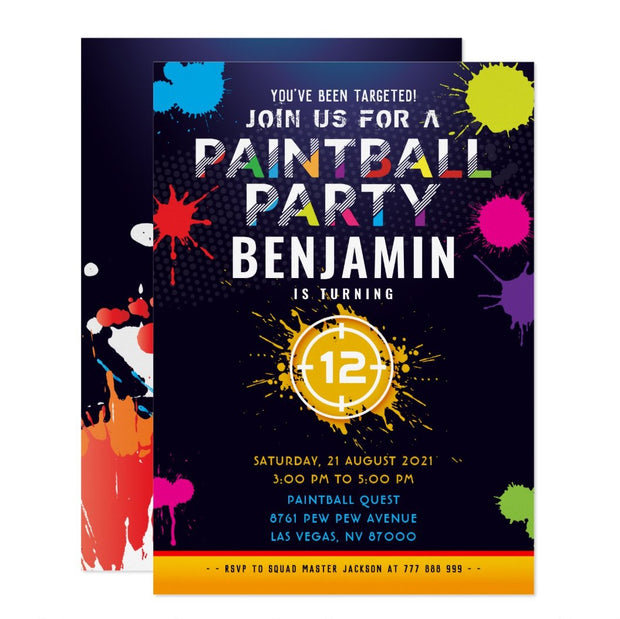 Paintball birthday invitations