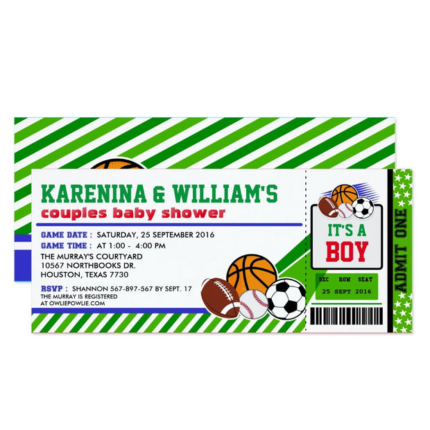 Sport Ticket Pass Couples baby shower ticket invitation