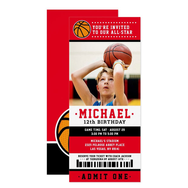 Red black Basketball ticket birthday invitations