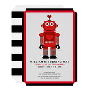 Robot birthday invitations