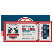 Red Vintage Baseball ticket birthday invitations