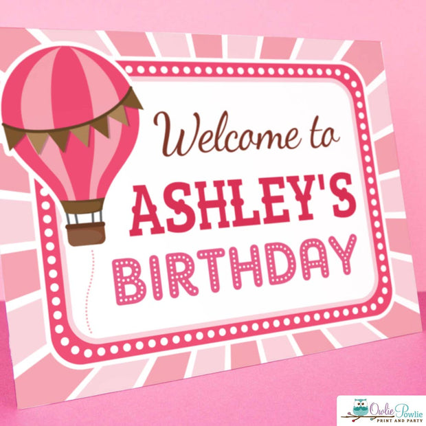 Pink Hot Air Balloon Birthday Party Package