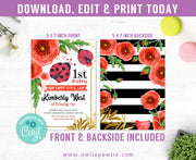 Red Ladybug Watercolour First Birthday Invitation Party Printable Template