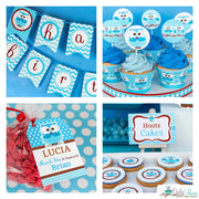 Blue Hoot Owl Birthday Party Package
