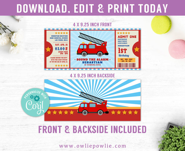Firetruck Ticket Pass Birthday Invitation Party Printable Template