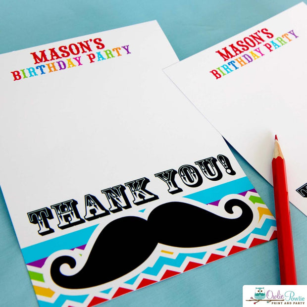 Rainbow Mustache Bash Birthday Party Package