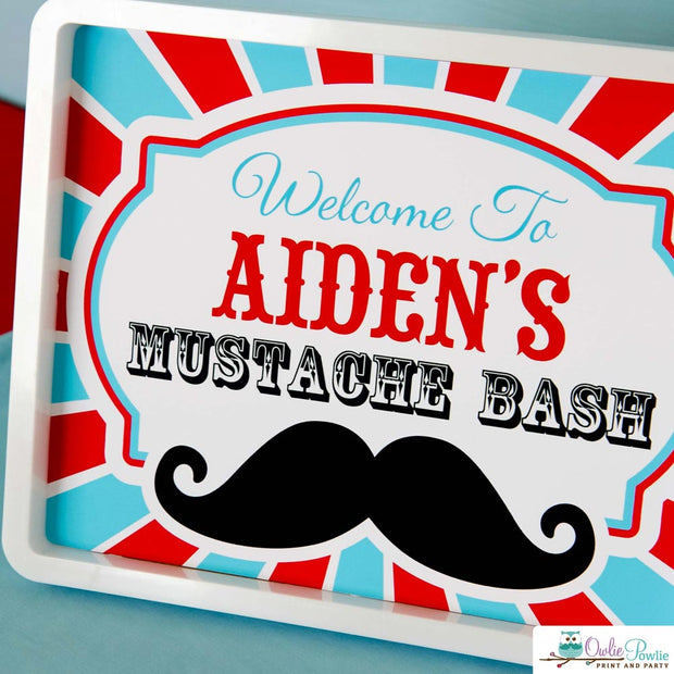 Blue Red Mustache Bash Birthday Party Package