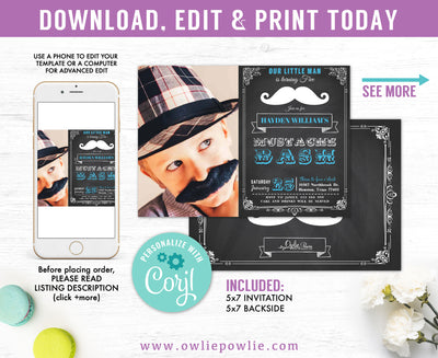 Chalkboard Vintage Mustache Bash Birthday Photo Invitation Party Printable Template