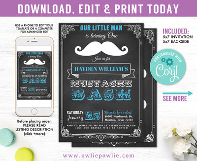 Chalkboard Vintage Mustache Bash Birthday Invitation Party Printable Template