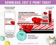 Boxing Ticket Pass Birthday Invitation Party Printable Template