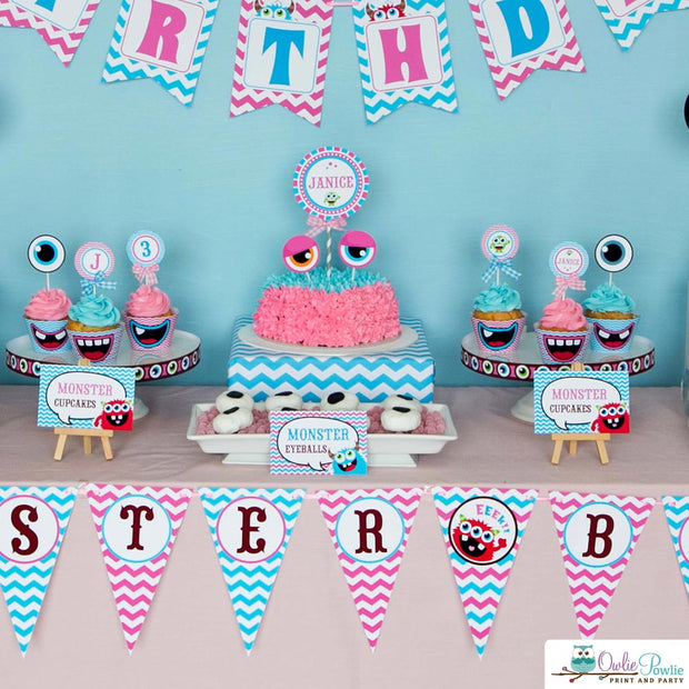 Pink Monster Bash Birthday Party Package