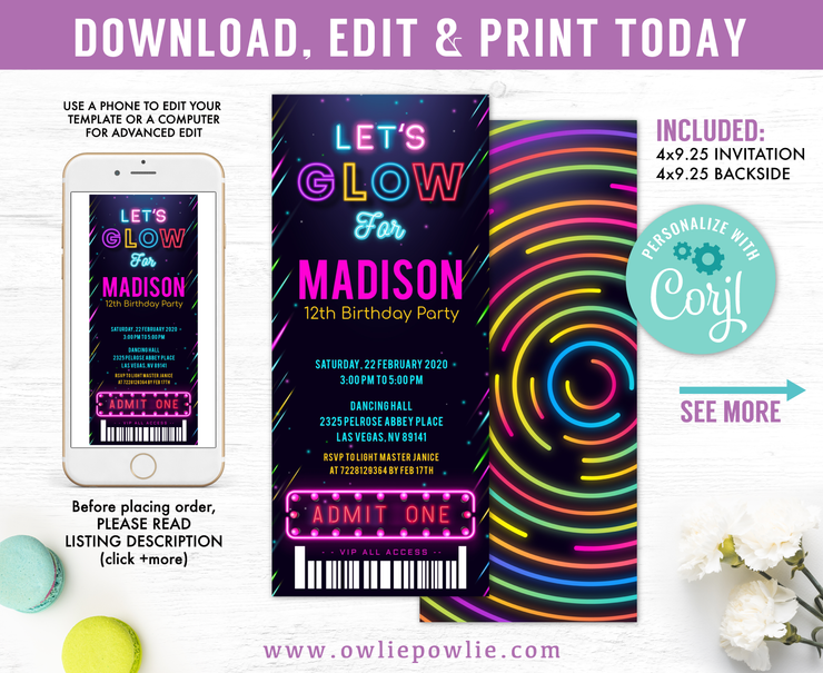 Glow Party Ticket Pass Birthday Invitation Party Printable Template