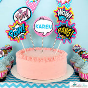 Pink Superhero Birthday Party Package