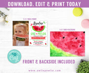 One in a Melon Birthday Photo Invitation Party Printable Template