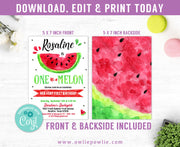 One in a Melon Birthday Invitation Party Printable Template