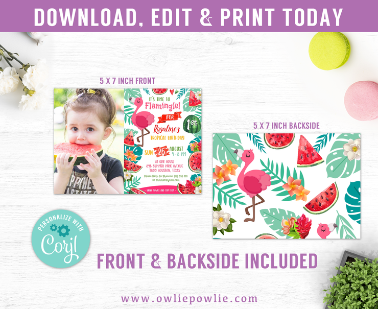 Flamingo Watermelon Birthday Photo Invitation Party Printable Template