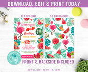 Flamingo Watermelon Birthday Invitation Party Printable Template