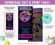 Glow Roller Skating Ticket Pass Birthday Invitation Party Printable Template