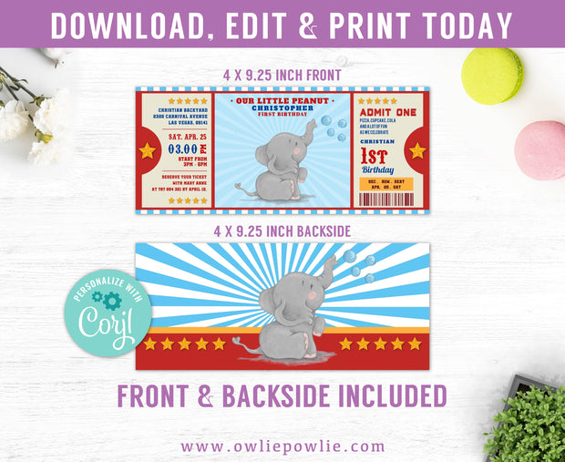 Little Peanut Elephant Ticket Pass Birthday Invitation Party Printable Template
