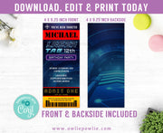 Laser Tag Ticket Pass Birthday Invitation Party Printable Template
