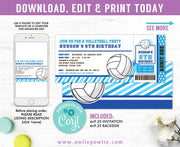 Volleyball Ticket Pass Birthday Invitation Party Printable Template