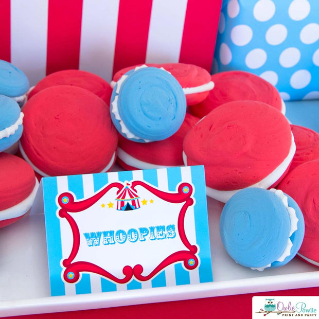 Blue Red Vintage Circus Birthday Party Package