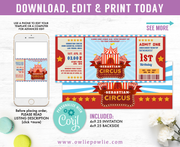 Circus Ticket Pass Birthday Invitation Party Printable Template