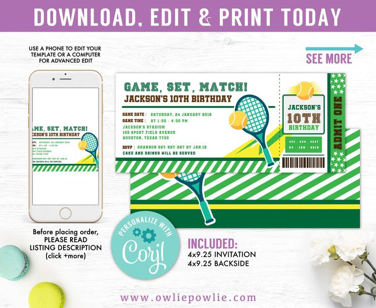 Tennis Ticket Pass Birthday Invitation Party Printable Template