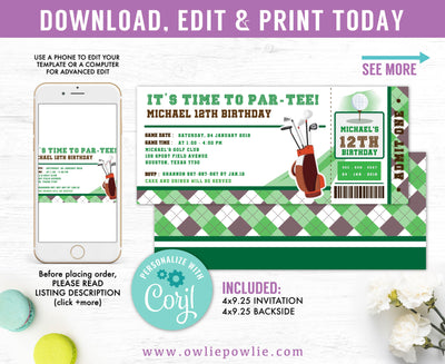 Mini Golf Ticket Pass Birthday Invitation Party Printable Template