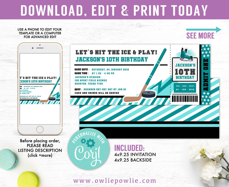 Ice Hockey Ticket Pass Birthday Invitation Party Printable Template