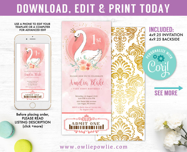 Swan Party Ticket Pass Birthday Invitation Party Printable Template