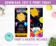 Paintball Ticket Pass Birthday Invitation Party Printable Template