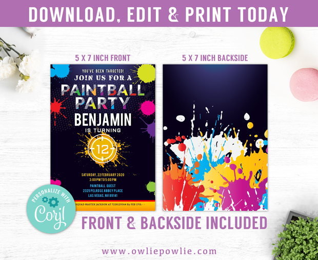 Paintball Birthday Invitation Party Printable Template
