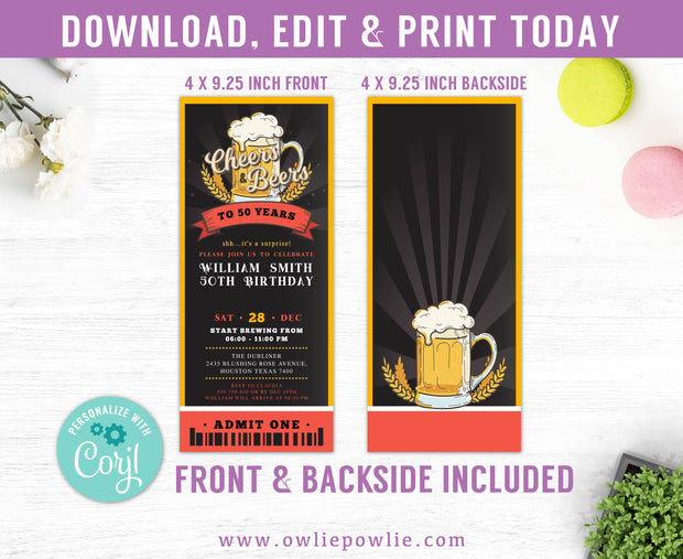Cheers & Beers Ticket Pass Birthday Invitation Party Printable Template