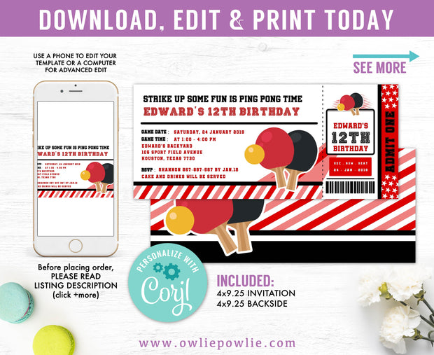 Ping Pong Ticket Pass Birthday Invitation Party Printable Template